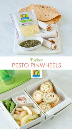 Turkey Pesto Pinwheels are fun and easy alternatives to sandwiches and appetizers. They're perfect for lunchbox meals and can be served hot or cold. Simply roll a multi-grain or whole wheat tortilla and layer on ingredients. Keep rolls intact by pressing down on the wrap or pierce the roll with a pretzel stick.