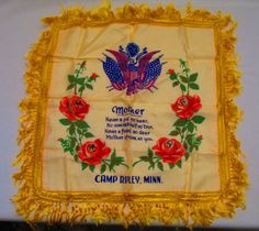 MILITARY-MOTHER-PILLOW-CASE-SOUVENIR-Camp-Ripley-Minnesota-Satin-Silk-Fringed