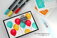 5 Cards ideas with Stampin' Up! Balloon Adventures stamp set by Stampin' Up! Up Balloons, Birthday Balloons, Fun Fold Cards, Cute Cards, Happy Birthday Cards, Birthday Greetings, Ballon Party, Cool Paper Crafts, Ppr