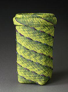 """STRATA Ply-split basket by Barbara J. Walker 5.5"""" H x 3.5"""" D; cotton"""