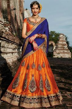 #Orange-Blue #Occasional Wear Designer #Lehenga Choli - $51