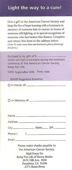 relay for life pledge form