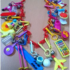 Who remembers and loved their Plastic Charm Necklace? I remember trading the charms with friends. This was mine from when I was a kid. The coolest thing ever!! #nostalgia #nostalgic #80s