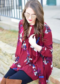 Chicwish Burgundy Floral Top