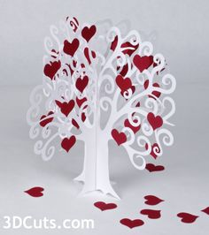 3d Paper Tree cutting files by 3dCuts.com. Marji Roy designs 3D cutting  files in .svg, .dxf, and .pdf formats for use with Silhouette and Cricut  cutting machines, paper crafting files, complete tutorials included.  Valentine Trees