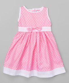 Loving this Pink & White Polka Dot A-Line Dress - Toddler & Girls on #zulily! #zulilyfinds