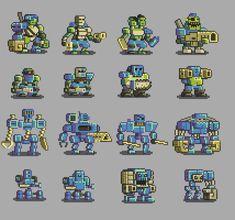 Slowly recolouring all the Mutant Gangland units limb by limb. I'm still not there. #GameDev #PixelArt
