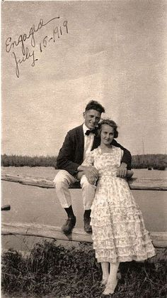 how sweet! Antique picture of couple engaged