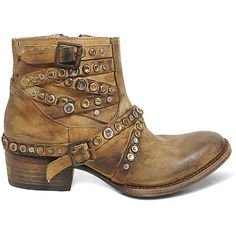 Freebird By Steven Women's Halo Boots Booties Mustard (265 CAD) ❤ liked on Polyvore featuring shoes, boots, mustard, ankle boots, cowboy boots, studded ankle boots, western boots and short leather boots