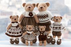 Une grande famille de tricot ours jouets 6-pc par SweetFunnyBunny
