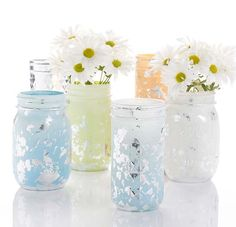 Gilded ball jars - cute centerpiece or gift idea! So pretty! salmon, blue, silver, cream and sage #madaboutcolor color palette inspiration and DIY projects with #marthastewartcrafts @marthacrafts #plaidcrafts