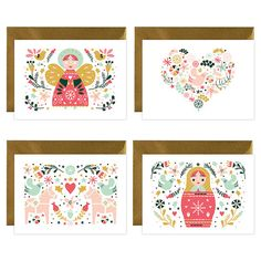 Beautiful Christmas Greetings cards Pack Dala Horse Matryoshka Dove Angel with matching gold envelope. Size folded A6 card - 148mmx105 mm