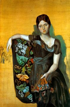 """""""Portrait of Olga in an Armchair"""" -- 1917 -- Pablo Picasso -- Oil on canvas -- Picasso Museum -- Paris"""