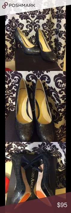 Cole Haan Nike Air Blue Sequin Heels Size 9B, Worn Once Shoes Heels