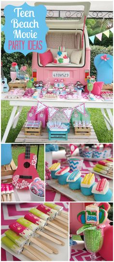 Check out this awesome Teen Beach Movie party! Very cool VW van backdrop! See more party ideas at CatchMyParty.com!
