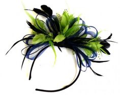 Navy Blue & Lime Green Feathers Fascinator On Headband