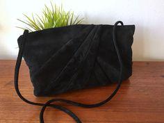 Black Suede Shoulder Bag / Black Suede Leather Evening Bag w Strap / 1980's Suede Leather Purse / Black Crossbody Handbag / Classic Handbag by ShopRachaels on Etsy https://www.etsy.com/listing/499996593/black-suede-shoulder-bag-black-suede