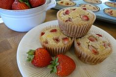 Strawberry Shortcake Muffins GF with a DF option! Sub blueberries to make S-man friendly!