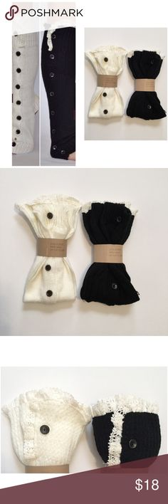 Leg Warmers Super soft and stylish button down leg warmers to complete your Fall and Winter line. Embellished with cream vintage inspired lace and 8 functioning buttons. Black and off white available.  Leg warmers measure 19 - 21 inches in length by 5 inches wide. These leg warmers will stretch to fit up to a 19inch calf without unbuttoning any buttons, fitting most sizes comfortably. iConcepta Boutique Accessories Hosiery & Socks