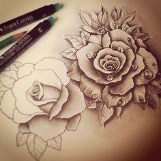 Risultato immagine per black lace rose tattoo design
