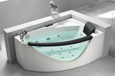 EAGO Left Drain Rounded Clear Modern Corner Whirlpool Bath Tub with Fixtures - Drain on Left