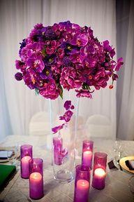 purple  magenta tall CENTERPIECE