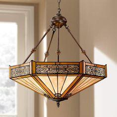 "Stratford 20 3/4"" Wide 3-Light Mission Tiffany Pendant Light - #W3141 | Lamps Plus"