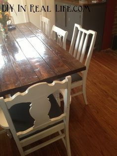 kitchen table redo kitchen chairs dining room chairs dining tables dining rooms mismatched dining room stained table chair redo painted chairs
