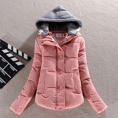 Fashion Long Sleeve Contrast Color Hooded Warm Coat