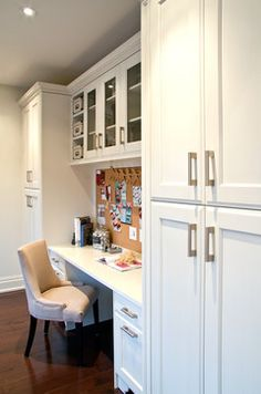 This kitchen has a built in desk - perfect for surfing the web for recipes, posting family schedules and homework for the kids!