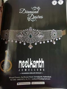 Diamond Choker Necklace, Diamond Jewelry, Frozen Jewelry, Vaddanam Designs, Hyderabadi Jewelry, Waist Jewelry, Jewelry Patterns, Wedding Jewelry, Jewelery