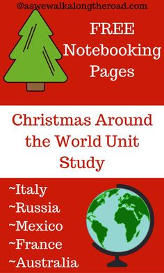 This free Christmas Around the World unit study has activities, links, and a booklist for Russia, France, Italy, Mexico, and Australia as well as FREE notebooking pages.