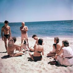 Robert Capa © International Center of Photography 1948 FRANCE. Vallauris. 1948. Pablo Picasso on the beach with friends.