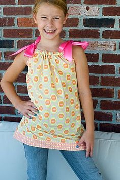 Pillowcase shirt tutorial- want to use this pattern to make the candy corn dress as a shirt