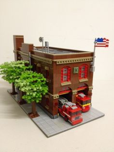I like the trees...Lego Fire Station MOC: would be great for a Christmas parade Portland, OR, Firehouse by BKNY Bricks, via Flickr