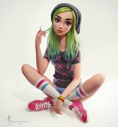 Green hair girl, Nazar Noschenko on ArtStation at https://www.artstation.com/artwork/kK9yK