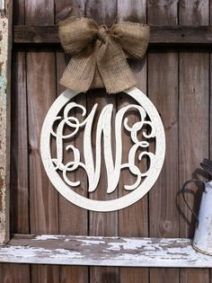 Large Wooden Circle Monogram Script Individual or Family Initial Monogram Decor with Chippy Ivory Cracks
