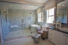 Such an elegant powder area, followed by a grand shower as well as bathtub kitty-corner to a beautiful view. #masterbathroom #powderroom #shower #bathtub #sheahomessocal #irvine  http://www.sheahomes.com/community/sausalito/