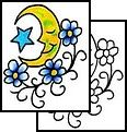 Moon, Star, and Flowers