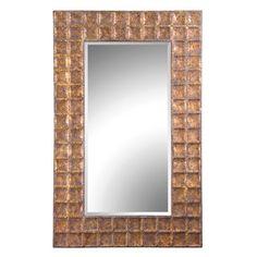 Uttermost Gavino Hammered Metal Frame Beveled Mirror in Antiqued Gold