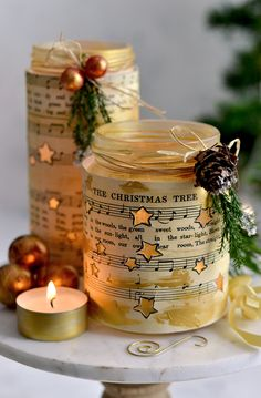 A quick and easy Christmas Craft! Make these beautiful DIY Learn how to make stunning Easy DIY Star Luminaries - the gold stars create sparkling effects at night! Diy Christmas Paper Decorations, Easy Christmas Crafts, Christmas Star, Simple Christmas, Beautiful Christmas, Christmas Ideas, Wine Bottle Crafts, Jar Crafts, Diy And Crafts