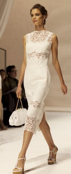 Dolce & Gabbana. also very beautiful and looks achievable by adding lace insets to a simple linen dress