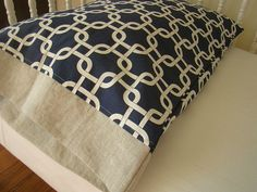 Nautical Toddler Bedding Pillow Case / Sham Navy Blue and Natural Linen. $18.50, via Etsy.