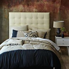 Tall Grid-Tufted Leather Headboard #WestElm - in Gray with my mahogany furniture?