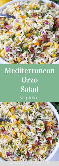 Bursting with flavours, this Mediterranean Orzo Salad is a great make-ahead meal that last for days in the fridge for a quick and easy lunch. Salad Recipes Healthy Lunch, Salad Recipes For Dinner, Easy Healthy Recipes, Healthy Cooking, Vegetarian Recipes, Healthy Eating, Cooking Recipes, Lunch Healthy, Salads For Lunch