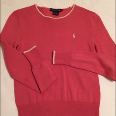 Pink Cashmere Ralph Lauren Sweater Sz small Beautiful shade of pink. Fitted silk and cashmere blend sweater. Worn once or twice, in great condition. Just been dry cleaned. Size small. Ralph Lauren Sweaters