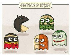 Geek Humor aaaa\ Pacman and Robin. Batman Fan Art, I Am Batman, Batman Robin, Geek Squad, Batman Family, Humor Grafico, Geek Humor, Geek Out, Cultura Pop