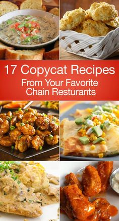 17 Copycat Recipes From Your Favorite Chain Restaurants including Carrabba's, Ap. - 17 Copycat Recipes From Your Favorite Chain Restaurants including Carrabba's, Applebee's, Chees - Great Recipes, Dinner Recipes, Favorite Recipes, Copykat Recipes, Chilis Copycat Recipes, Famous Recipe, Restaurant Recipes, Food Hacks, Carne