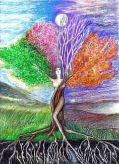 L'essenza dell'energia – Home – capture Tree Of Life Art, Tree Art, Tree Woman, Desenho Tattoo, Goddess Art, Spring Is Here, Mother Earth, Painting & Drawing, Fantasy Art