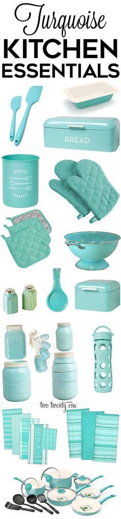 Turquoise kitchen decor, appliances, and gadgets!